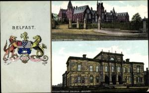 Wappen Ak Belfast Nordirland, Methodist College, Presbyterian College, Wappen