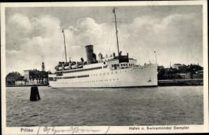 Ak Baltijsk Pillau Kaliningrad Ostpreußen, Hafen und Swinemünder Dampfer, Fährschiff