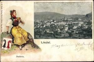 Präge Wappen Passepartout Ak Liestal Kanton Basel Land Schweiz, Frau in Tracht, Ortschaft