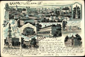 Litho Lissa Leszno Poznań Posen, Kriegerdenkmal, Bahnhof, Totalansicht, Ständehaus