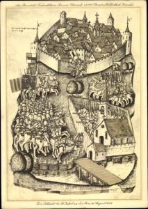 Künstler Ak St Jakob an der Birs Bâle Basel Stadt Schweiz, Schlacht