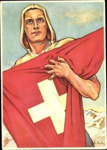 Künstler Ak Bundesfeier 1941, Mann mit Nationalflagge