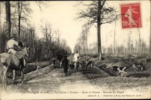 Ak Nangis Seine et Marne, La Chasse a Courre