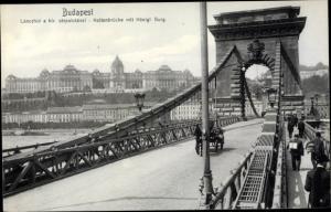 Ak Budapest Ungarn, Lanczhid a kir varpalotaval, Kettenbrücke mit Königlicher Burg