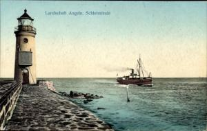 Ak Kappeln an der Schlei, Lotseninsel Schleimünde, Leuchtturm, Landschaft Angeln