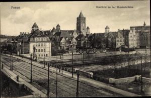 Ak Poznań Posen, Stadtbild an der Theaterbrücke