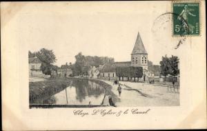 Ak Claye Souilly Seine et Marne, L'Eglise et le Canal