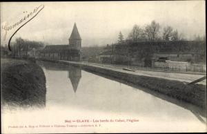 Ak Claye Souilly Seine et Marne, Les bords du Canal, l'Eglise