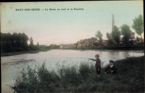 Ak Bray sur Seine Seine et Marne, La Seine en aval et la Sucrerie