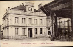 Ak Bray sur Seine Seine et Marne, La Mairie, Le Marche