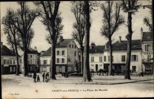 Ak Crouy sur Ourcq Seine et Marne, La Place du Marche