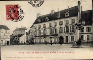 Ak Coulommiers Seine et Marne, Place du Marche, Hotel du Palais Royal