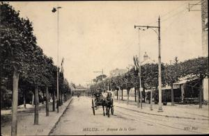 Ak Melun Seine et Marne, Avenue de la Gare