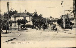 Ak Melun Seine et Marne, L'Avenue de la Gare