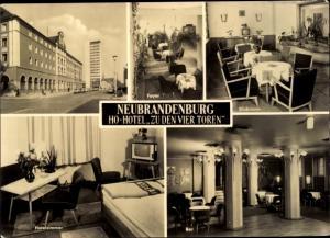 Ak Neubrandenburg in Mecklenburg, HO Hotel Zu den vier Toren, Innen und Außen