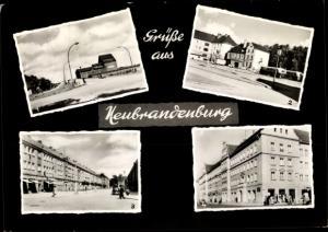 Ak Neubrandenburg in Mecklenburg, Brücke 10. Jahrestag der DDR, Busbahnhof, Straße der DSF
