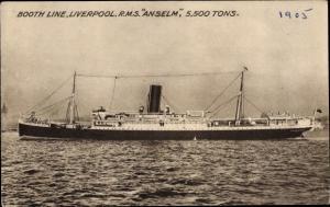 Ak Steamer RMS Anselm, Dampfschiff, Booth Line