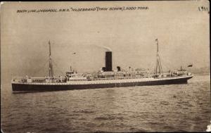Ak Steamer RMS Hildebrand, Dampfschiff, Booth Line