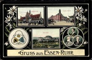 Wappen Ak Essen Ruhrgebiet, Hauptbahnhof, Kaiserliches Postamt, Alfred und Friedrich Krupp
