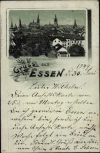 Litho Essen im Ruhrgebiet, Panorama vom Ort