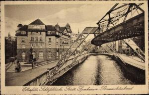 Ak Elberfeld Wuppertal in Nordrhein Westfalen, Schlossbleiche, Städt. Sparkasse, Bismarckdenkmal
