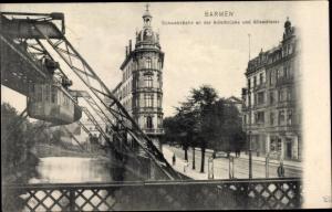 Ak Elberfeld Wuppertal in Nordrhein Westfalen, Adlerbrücke, Alleestraße, Schwebebahn