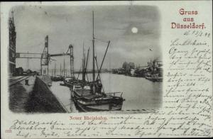 Mondschein Ak Düsseldorf am Rhein, Neuer Rheinhafen