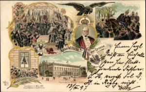 Litho Kaiser Wilhelm I. von Preußen, Adler, Palais, Kaiserproklamation