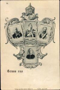 Passepartout Ak Kaiser Wilhelm II. von Preußen, Kronprinz Wilhelm, Wilhelm I