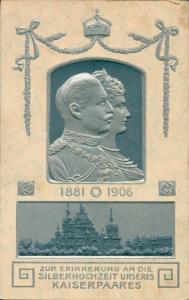 Präge Litho Kaiser Wilhelm II. von Preußen, Kaiserin Auguste Viktoria, Silberhochzeit 1906
