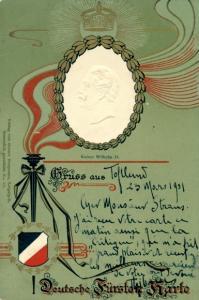 Präge Wappen Litho Kaiser Wilhelm II. von Preußen, Portrait