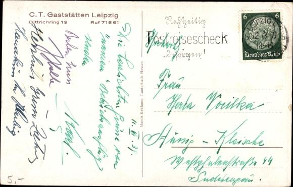 Ak Leipzig in Sachsen, C.T. Gaststätten, Dittrichring 19 1