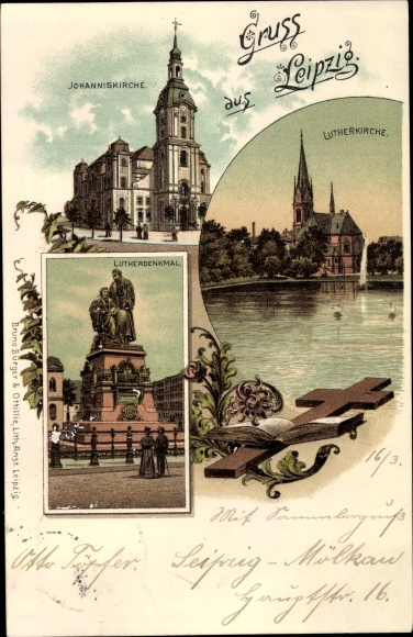Litho Leipzig in Sachsen, Lutherkirche, Johanniskirche, Lutherdenkmal 0