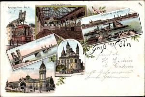 Litho Köln am Rhein, Monument Friedr. Wilh. III., Saal im Gürzenich, Eisenbahnbrücke, Deutz