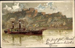 Künstler Ak Ehrenbreitstein Koblenz am Rhein, Panorama, Dampfer