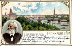 Präge Passepartout Künstler Ak Fischer, Gustav, Frankfurt am Main, Panorama, Friedrich Stoltze