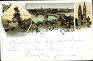 Litho Koblenz am Rhein, Provinzial Denkmal Kaiser Wilhelm I, Castor-Kirche