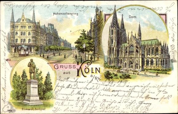 Litho Köln am Rhein, Hohenzollernring, Dom, Bismarck-Denkmal 0
