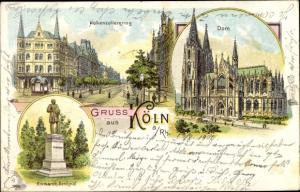 Litho Köln am Rhein, Hohenzollernring, Dom, Bismarck-Denkmal