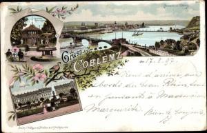 Litho Koblenz am Rhein, Trinkhalle, Rheinanlagen, Schloss, Panorama