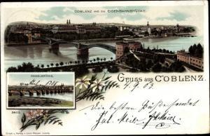 Litho Koblenz am Rhein, Eisenbahnbrücke, Moselbrücke