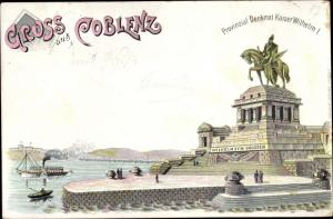 Litho Koblenz am Rhein, Provinzial Denkmal Kaiser Wilhelm I, Dampfer