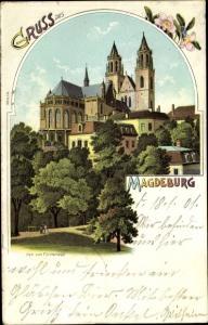 Litho Magdeburg an der Elbe, Dom, Blick vom Fürstenwall