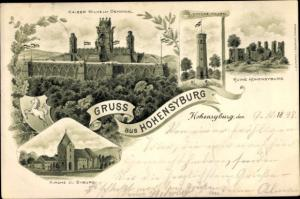Litho Syburg Dortmund Nordrhein Westfalen, Kaiser Wilhelm Denkmal, Vincke Turm, Kirche, Ruine