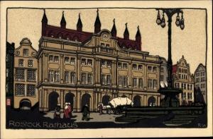 Steindruck Ak Rostock in Mecklenburg Vorpommern, Rathaus