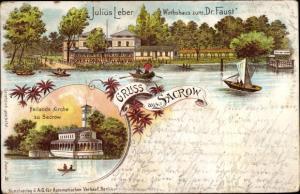 Litho Sacrow Potsdam in Brandenburg, Wirtshaus zum Dr. Faust, Julius Leber, Heilandskirche