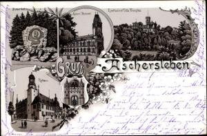 Litho Aschersleben im Salzlandkreis, Villa Douglas, Postamt, Bismarckstein, Rathaus