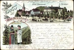 Ak Bad Nenndorf an der Weser, Hotel Hannover, H. Bremer, Paar in Volkstrachten