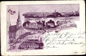Ak Werl in Westfalen, Kirche, Seebad, Ruine, Blick auf den Ort