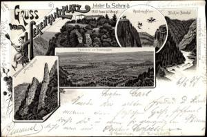 Litho Thale im Harz, Gruß vom Hexentanzplatz, Inh. L. Schmid, Rosstrappfelsen, Bodetal
